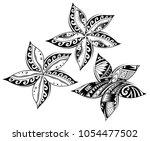 plumeria flower as tribal... | Shutterstock .eps vector #1054477502