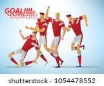 many soccer players are... | Shutterstock .eps vector #1054478552