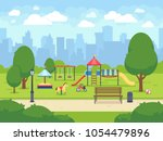 urban summer public garden with ... | Shutterstock .eps vector #1054479896