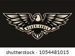 black eagle symbol  emblem on a ... | Shutterstock .eps vector #1054481015