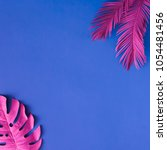 tropical and palm leaves in... | Shutterstock . vector #1054481456