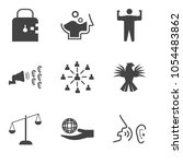 set of 9 simple editable icons... | Shutterstock .eps vector #1054483862