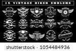 big set of vintage motorcycle... | Shutterstock .eps vector #1054484936