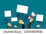 people hold banners and posters ... | Shutterstock .eps vector #1054485908