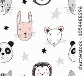 seamless pattern with funny... | Shutterstock .eps vector #1054488296