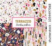 terrazzo seamless patterns. set ... | Shutterstock .eps vector #1054497068