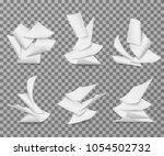 flying white blank paper sheets.... | Shutterstock .eps vector #1054502732