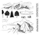 hand drawing mountain range ... | Shutterstock .eps vector #1054502735
