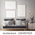 living room interior wall mock... | Shutterstock . vector #1054507025