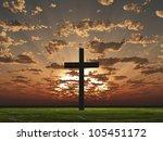 Sunset or sunrise with cross - stock photo