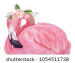 Watercolor Flamingo With Exoti...