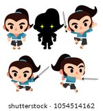vector set of cute samurai... | Shutterstock .eps vector #1054514162