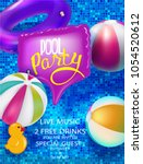 pool party banner with... | Shutterstock .eps vector #1054520612