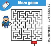 maze game. help the postman go... | Shutterstock .eps vector #1054530362