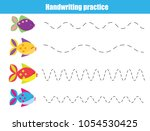 handwriting practice sheet.... | Shutterstock .eps vector #1054530425