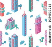 seamless pattern with isometric ... | Shutterstock . vector #1054533218
