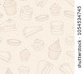 vector pastry seamless pattern... | Shutterstock .eps vector #1054534745