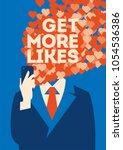 get more likes poster.... | Shutterstock .eps vector #1054536386