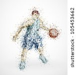 abstract basketball player with ... | Shutterstock .eps vector #105453662