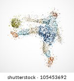 football player  kick a ball.... | Shutterstock .eps vector #105453692