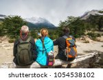 tourists hiking to the laguna...   Shutterstock . vector #1054538102