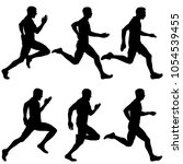 set of silhouettes. runners on... | Shutterstock .eps vector #1054539455