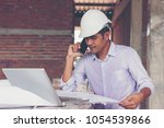 architect and engineer inspect... | Shutterstock . vector #1054539866