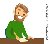 caucasian student sitting at... | Shutterstock .eps vector #1054540436