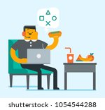 lazy plump caucasian white man...   Shutterstock .eps vector #1054544288