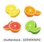 fresh citrus fruits set. orange ... | Shutterstock .eps vector #1054545692