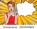 pop art girl vector portrait.... | Shutterstock .eps vector #1054549865