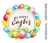 colorful easter eggs with grass ... | Shutterstock .eps vector #1054551596