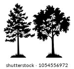 set of silhouette forest trees  ... | Shutterstock .eps vector #1054556972