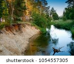 river wda near miedzno village. ... | Shutterstock . vector #1054557305