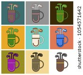 set of icons in flat design bag ... | Shutterstock .eps vector #1054571642