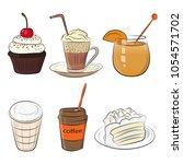 food cafe set morning breakfast ... | Shutterstock .eps vector #1054571702