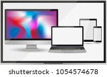 realistic set of monitor ... | Shutterstock .eps vector #1054574678
