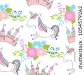 magic cute unicorns with castle.... | Shutterstock .eps vector #1054579262