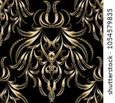 vintage gold floral 3d seamless ... | Shutterstock .eps vector #1054579835