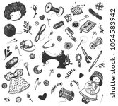 hand drawn sewing accessories... | Shutterstock .eps vector #1054583942
