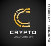 symbol of crypto. letter c in... | Shutterstock .eps vector #1054585988