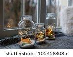 beautiful lights  garland in a... | Shutterstock . vector #1054588085