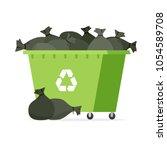 overflowing garbage bin. vector ... | Shutterstock .eps vector #1054589708