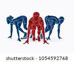 start running  sprinter prepare ... | Shutterstock .eps vector #1054592768