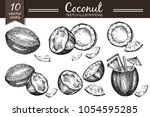 vector collection with sketch... | Shutterstock .eps vector #1054595285