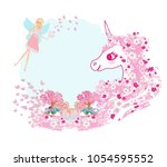 cute unicorn and fairy | Shutterstock .eps vector #1054595552