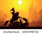 medieval knight and dragon | Shutterstock .eps vector #1054598732
