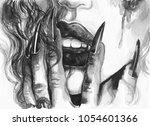 dark lips. witch. watercolor... | Shutterstock . vector #1054601366