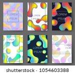fluid colors backgrounds set.... | Shutterstock .eps vector #1054603388