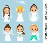 cute cartoon brides. princess... | Shutterstock .eps vector #1054612826